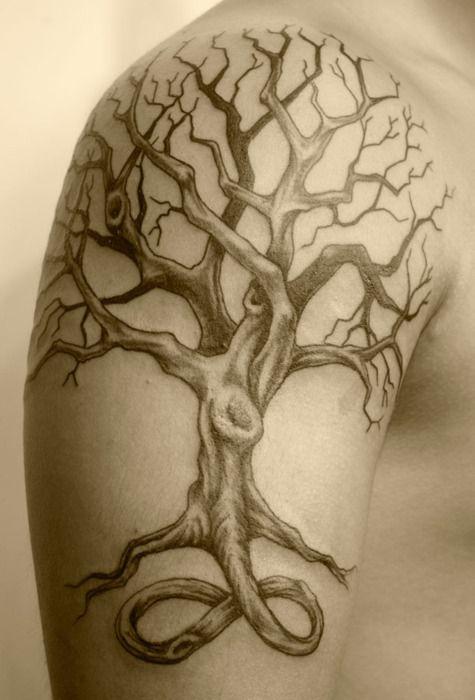 tatouage abre avec racine épaule homme