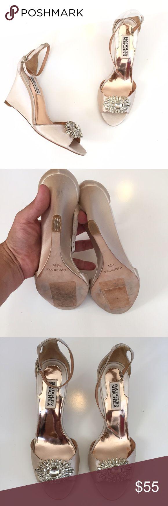 BADGLEY MISCHKA JEWELED PEEP TOE WEDGES SZ 6 new BADGLEY MISCHKA JEWELED PEEP TOE WEDGES SZ 6 new without box store display ! Back of the heel needs cleaning Adidas Shoes