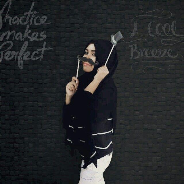 Moustache moustache black and white. #monochrome #bnw #blackandwhiteoutfit #oot #moustache #hijabootd