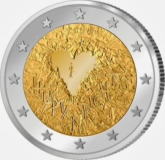 2 Euro Commemorative Coins: 2 euro Finland 2008, 60th Anniversary of the Universal Declaration of Human Rights. Commemorative 2 euro coins from Finland