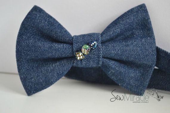 Denim Bow Tie, Decorated with Dice, Men's Bow tie, Accessory, Men's accessory, Dice bow tie, Handmade, Gift for men, Perfect for any outfit
