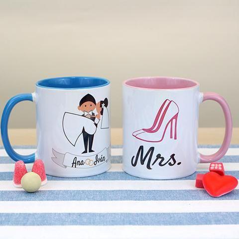 Tazas personalizadas para regalar a los próximos en casarse de entre los invitados de toda tu boda