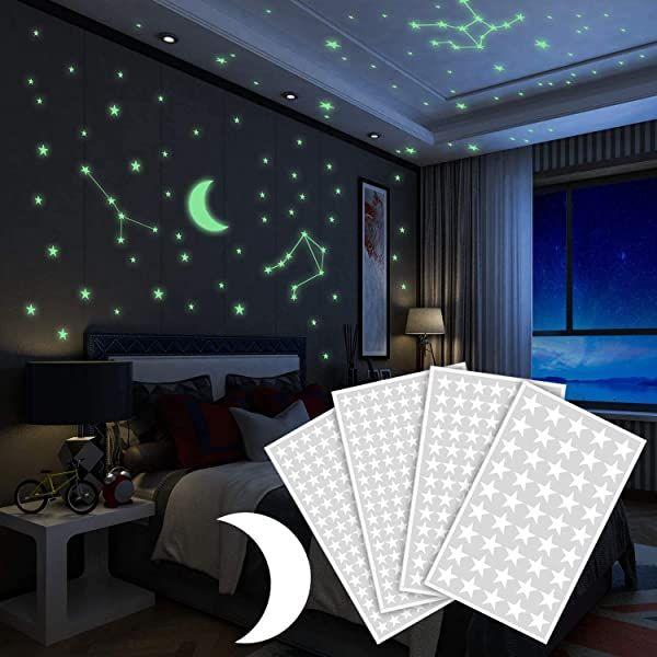 Brilla En La Oscuridad Estrellas Pegatinas De Pared 252 Puntos Adhesivos Y Luna Para Cielo E Pegatinas De Pared Estrellas En El Techo Decoracion De Interiores