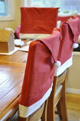 Santa hat chair covers - what a cute idea!