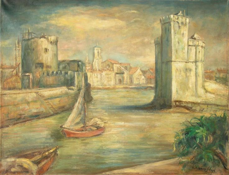 Roman KRAMSZTYK (KRAMSTYK),Pejzaż z La Rochelle, lata 1930. , olej, płótno, 50 x 65 cm