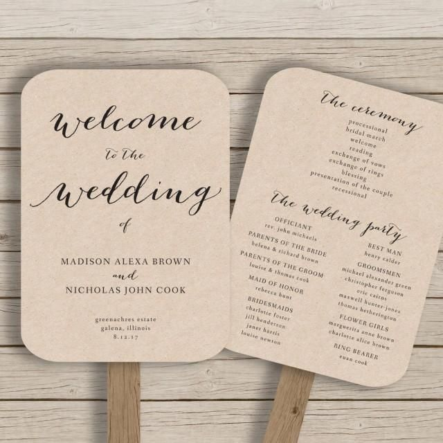 this wedding program fan template is available for instant download