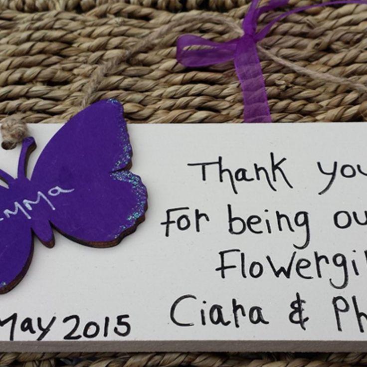 Wedding Favour Thank You Butterfly Plaque - Little Miss Scrabbled