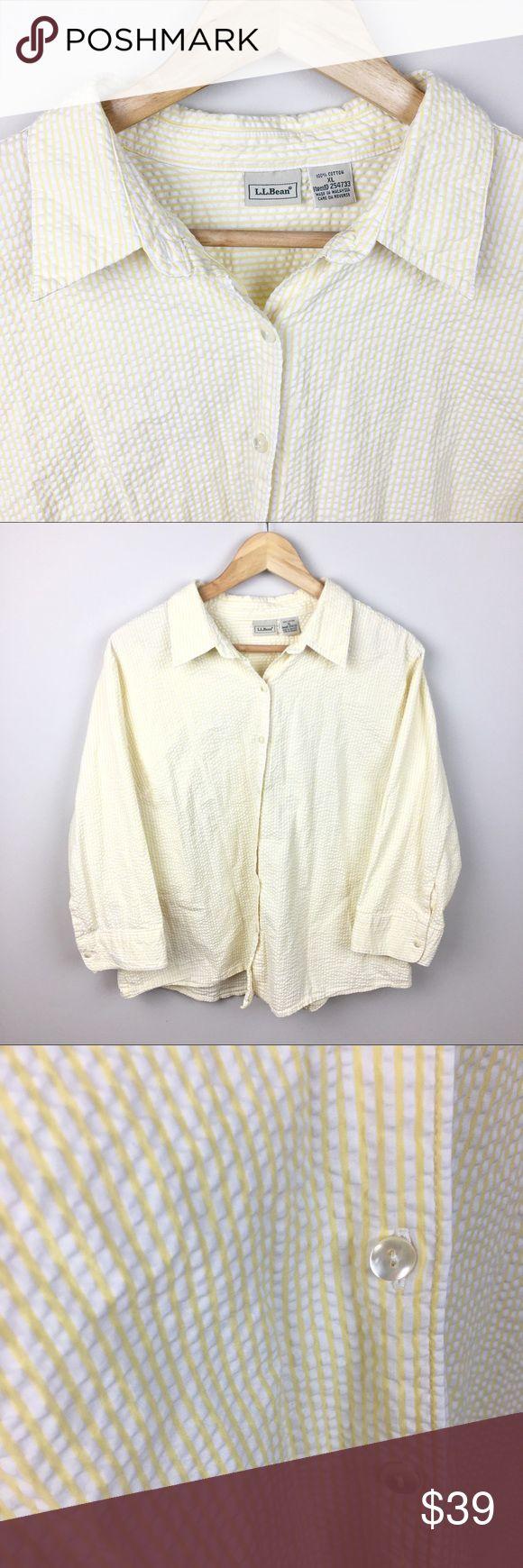 L.L. Bean Essential Seersucker Shirt - 3/4 Sleeves L.L. Bean Essential Seersucker Shirt in yellow and white stripe. Button up shirt with 3/4 length sleeves. 100% cotton. Size XL. L.L. Bean Tops Button Down Shirts