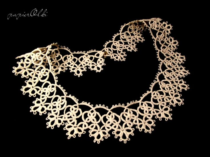 Lace tatted collar, frywolitkowy kołnierzyk