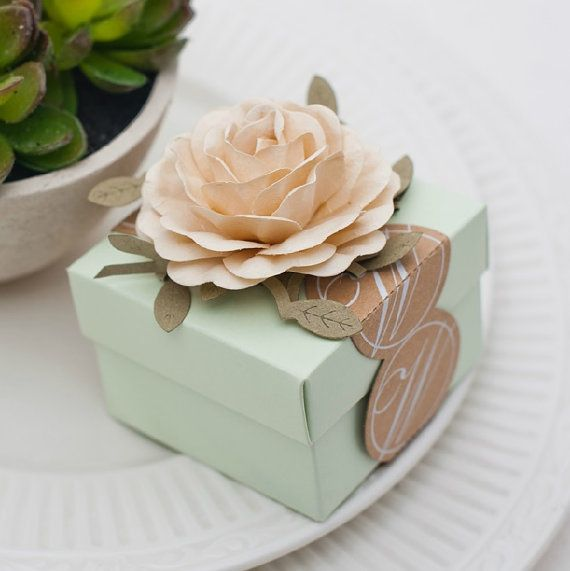 Light green Wedding Favors Candy Box with Ivory by sweetywedding, $1.99