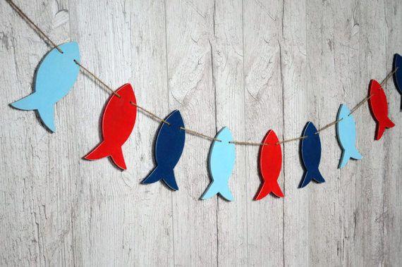 Houten vis garland nautische verjaardagsdecoratie visserij
