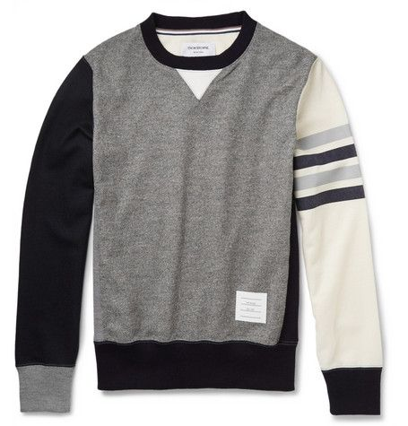 Thom Browne Colour-Block Wool-Jersey Sweatshirt | MR PORTER