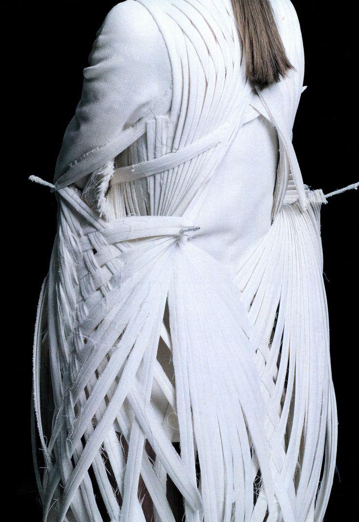Wearable Art - 3D sculptural bird inspired dress with woven skeletal structure - architectural fashion design // Mark Goldenberg