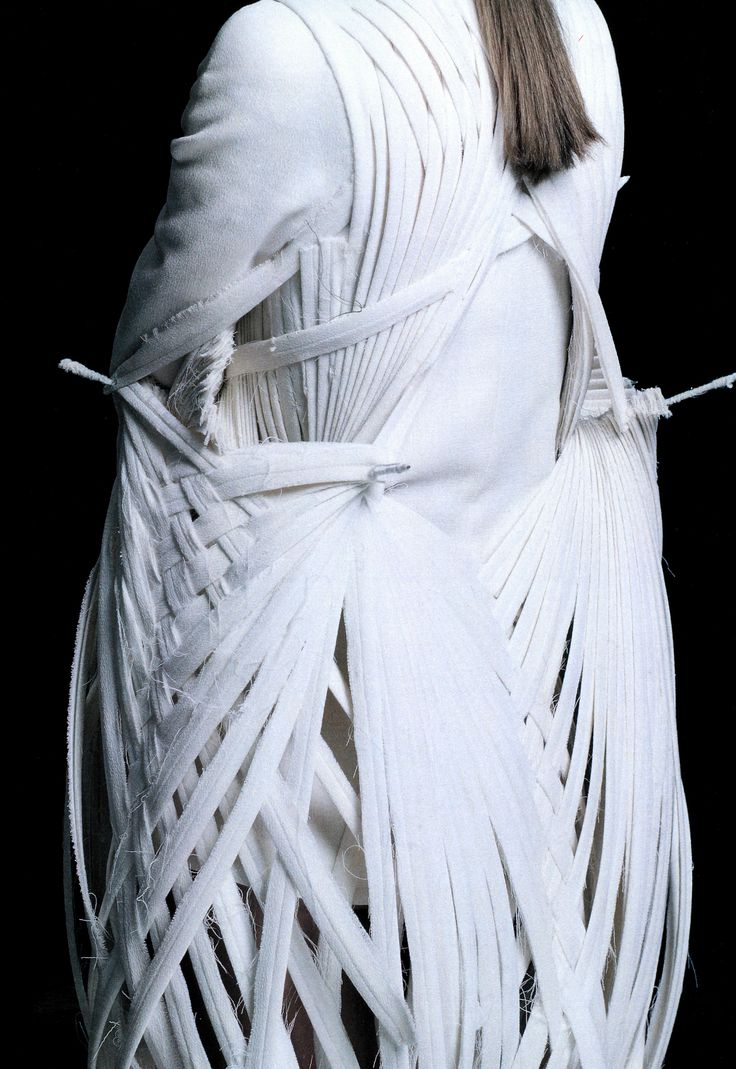 Wearable Art - 3D sculptural bird inspired dress with woven skeletal structure - architectural fashion design // Mark Goldenberg