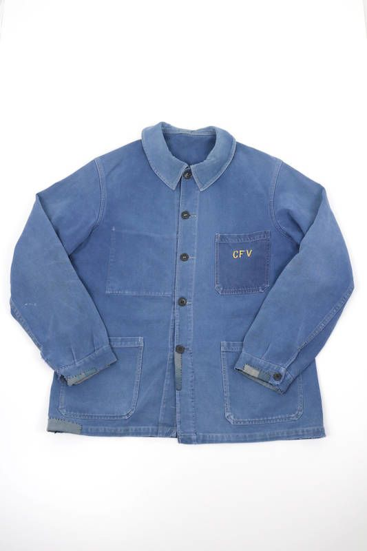 French vintage work jacket/cotton twill/faded navy