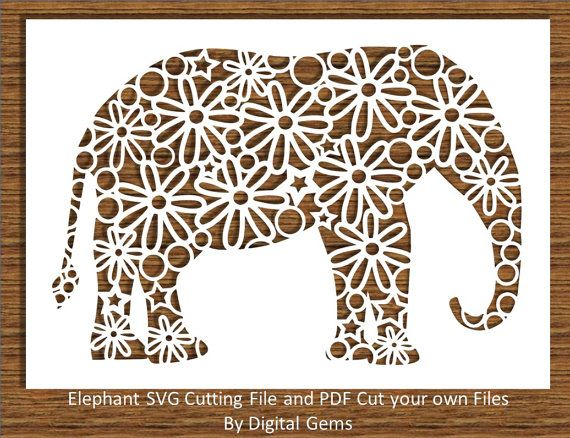 Elephant Paper Cut SVG File for Cricut Design Space and PDF Self Cutting File, Instant Download, Small Commercial Use OK