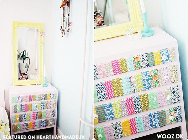 Omg!! Washi Tape Heaven! This is an amazing dresser makeover! Loving this post - 20 Fabulous Furniture Ideas