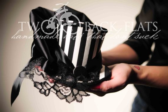 Gothic, Steampunk Mini Top Hat, Black and White Stripe Hat, Sweeny Todd Inspired fascinator, mini hat, black lace
