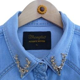 Wrangler vintage shirt with Reindeer brooches. Winter wonder!
