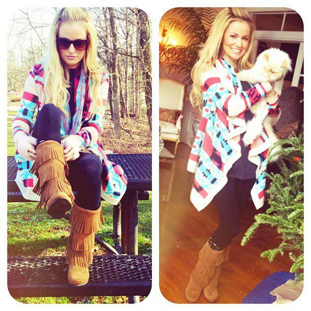 Emily Maynard - Aztec sweater, black leggings and Minnetonka Moccassin Boots. Fall Fashion / Fall Outfit