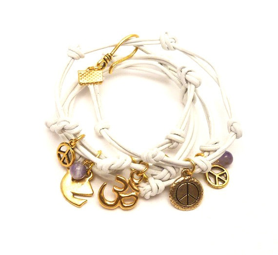 White Leather Wrap Bracelet with Gold Peace Charms and Amethyst Beads -- for Martha