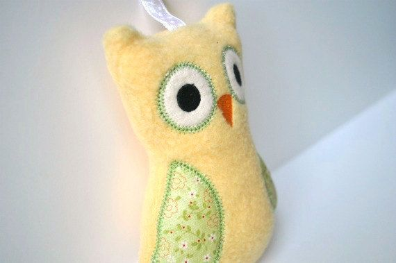 Owl Rattle  Plush Baby Toy  Small Stuffed Animal  by BirdieAndDot, $12.00