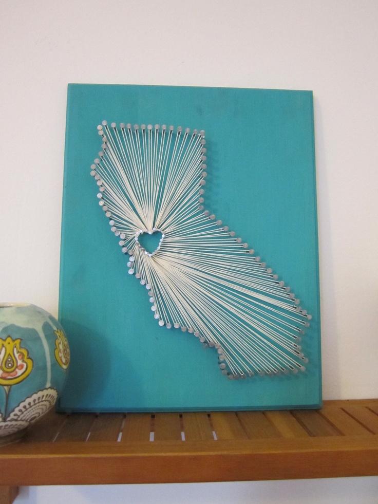 Nail + String State Art via Etsy
