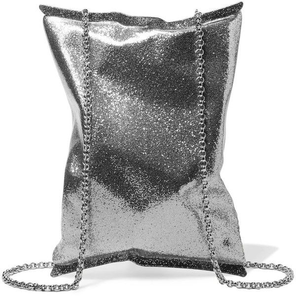 Anya Hindmarch Crisp Packet metallic brass clutch bag ($855) ❤ liked on Polyvore featuring bags, handbags, clutches, silver, chain strap handbag, chain strap purse, anya hindmarch, anya hindmarch purse and metallic handbags
