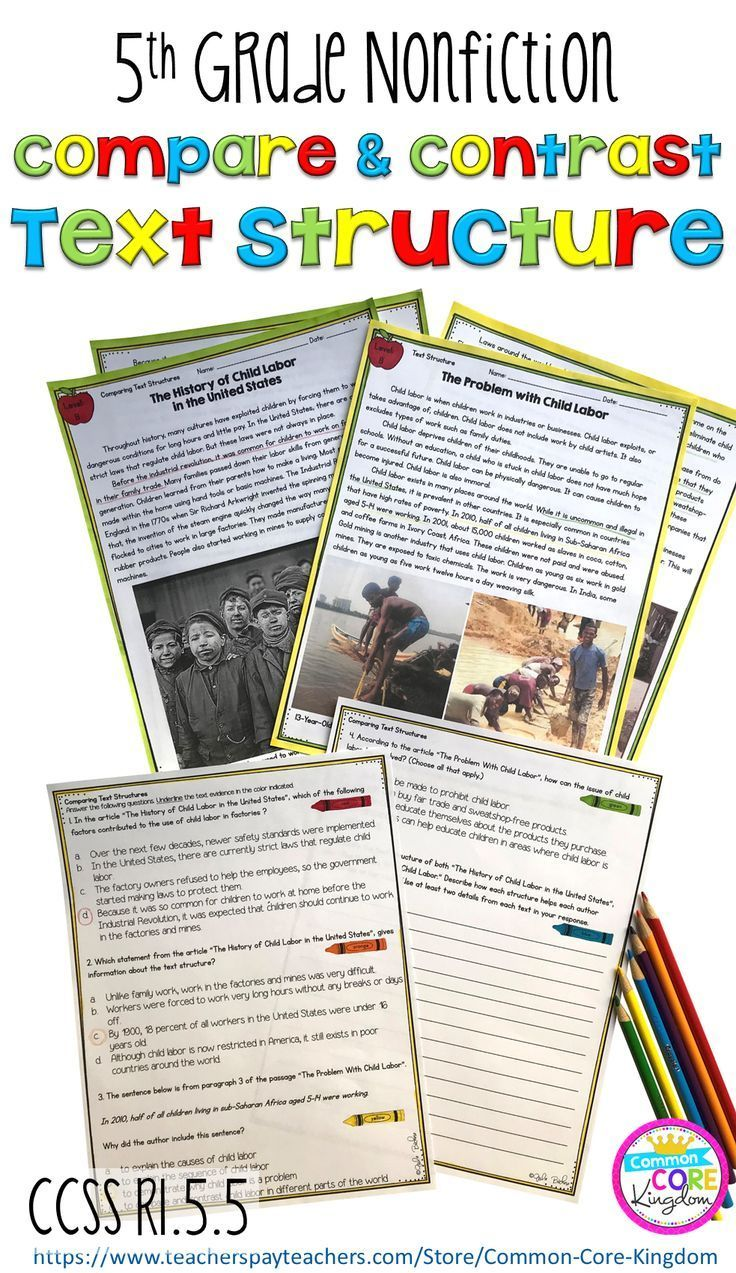 Teach Your 5th Graders About Comparing And Contrasting Nonfiction Text Structures Including Chronology Com Text Structure Compare And Contrast Comparing Texts