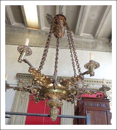 Lampadario 6 luci bronzo dorato 0170035