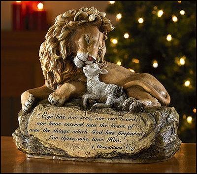 LION AND LAMB PRAYER STATUE BEAUTIFUL CHRISTIAN OR CATHOLIC GIFT JESUS CHRIST