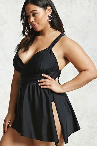 Forever 21+ - A knit one-piece swimsuit featuring a V-neckline with straps that crisscross at the back, removable cups, a ruched waist, and a versatile flounce layer at the waist that can be tied at the side for added ruching.