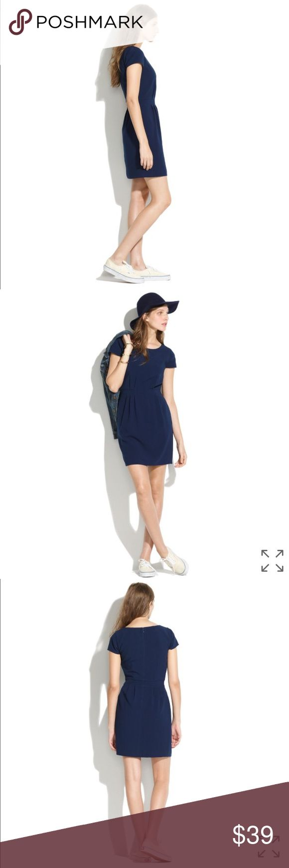 Madewell Navy cap-sleeve Dress Minimalist and modern. Nipped and pleated at the waist. Fitted at the waist. Unexpected charming. Goes well with flat during the work day or heels for happy hour. Madewell Dresses