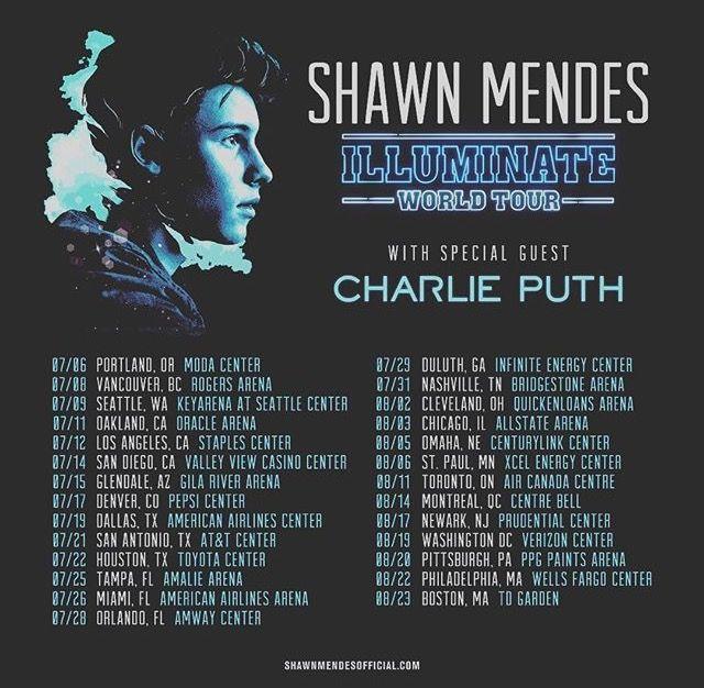 Shawn Mendes Illuminate World Tour Dates 2017