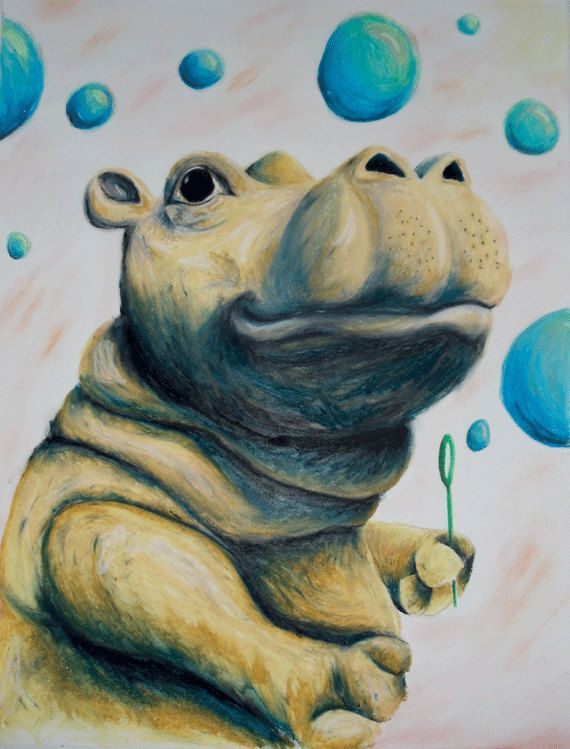 Anderson The Hippo by ArtworkByJennyHanson on Etsy
