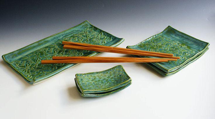 Sushi set for 2, Serving set, Ceramic Sushi set for 2, Handmade Sushi Set, Dragonfly Sushi Set, Kiwi Green Sushi Set by CV3CeramicDesigns on Etsy https://www.etsy.com/listing/515651102/sushi-set-for-2-serving-set-ceramic