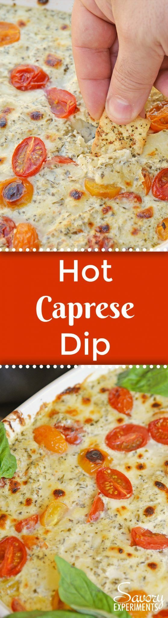 Hot Caprese Dip is a party appetizer favorite using mozzarella, pesto and sweet tomatoes. An easy appetizer your guests will love! #capresedip #capresesalad #partyappetizers www.savoryexperiments.com via @savorycooking