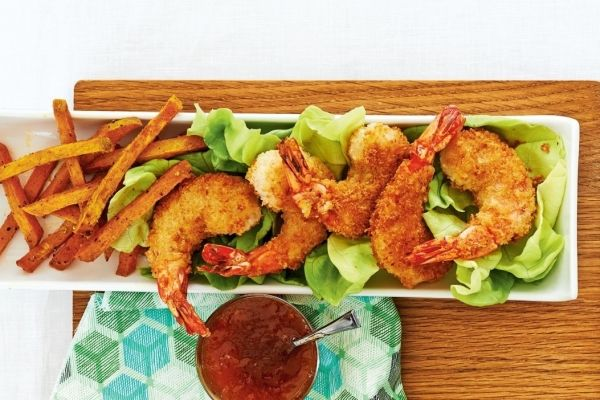 Coconut+Shrimp+With+Sweet+Potato+Fries