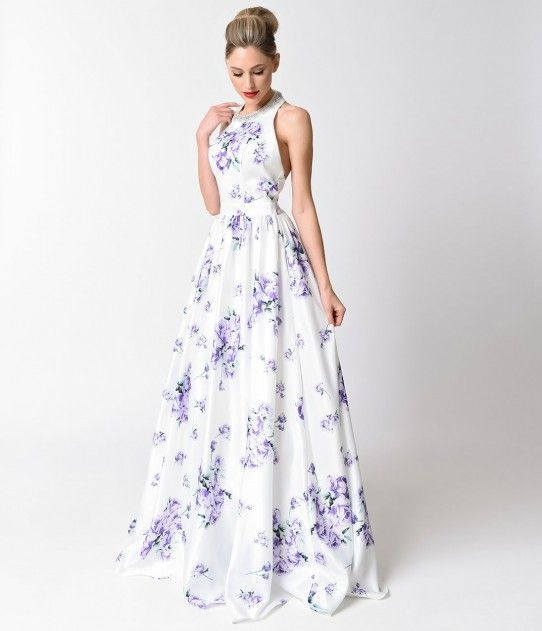 White Lilac Floral Halter Racerback A-Line Gown For Prom 2017