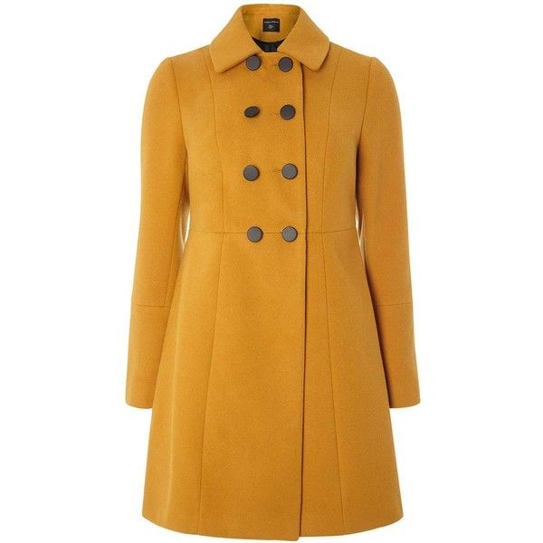 Dorothy Perkins Ochre Double Breasted Swing Coat ($95) ❤ liked on Polyvore featuring outerwear, coats, orange, swing coat, double breasted coat, dorothy perkins, dorothy perkins coats and trapeze coat