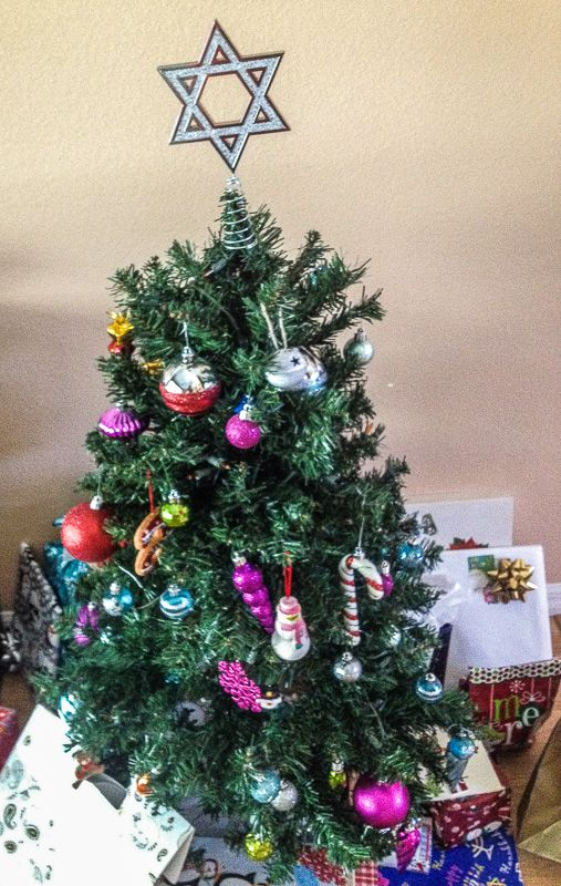 The Original Hanukkah Tree Topper looks sweet perched atop a children's tree. #interfaith #chrismukkah #mytreetopper