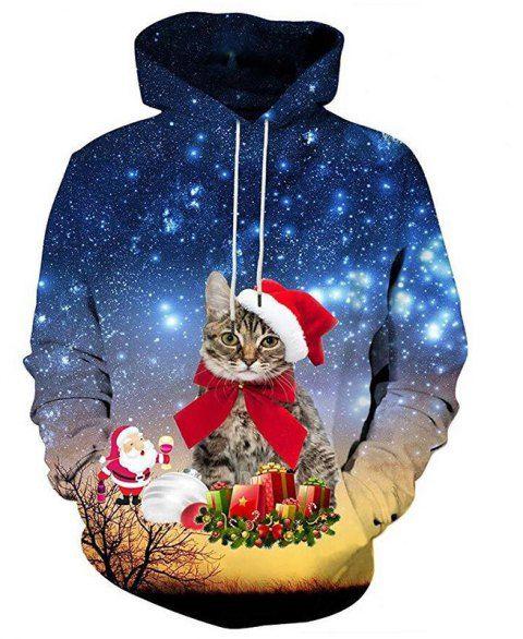 c07a9b4d8efb3 Women s Casual Hoodie 3D Cat Print Christmas Hoodie - RED M