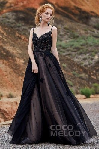634b544933 A-Line Sweep-Brush Train Tulle and Lace Gothic Wedding Dress LD5821 in 2019