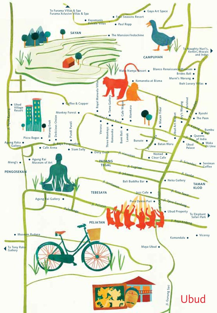 Astrid Prasetianti's Illustrated map of Ubud, Bali for hellobali magazine