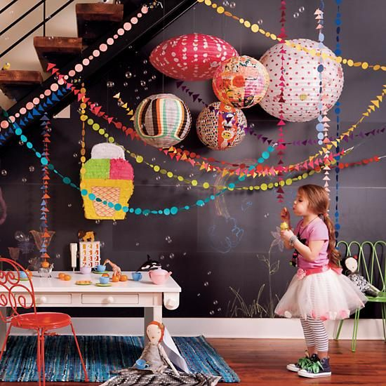 Kids' Room Hanging Décor: Colorful Teal Shape Circle Garland in Hanging Décor | The Land of Nod