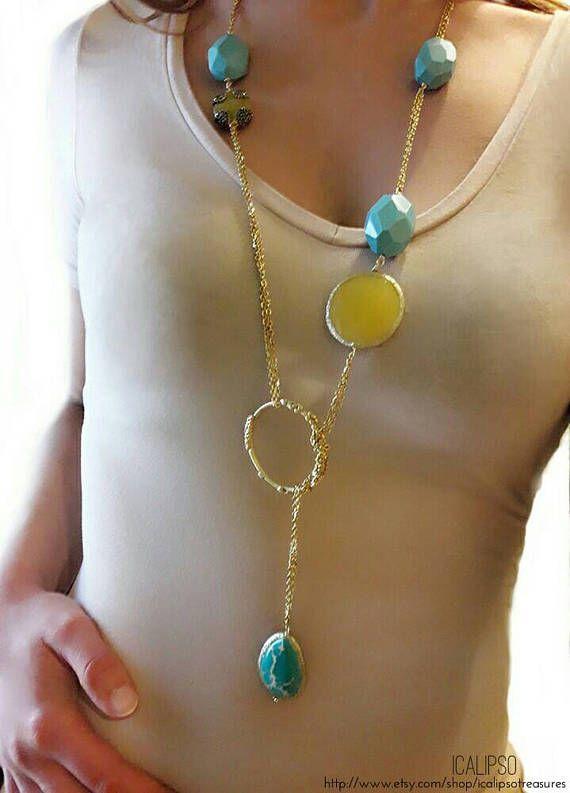 Guarda questo articolo nel mio negozio Etsy https://www.etsy.com/it/listing/529605391/lariat-turquoise-necklace-boho-necklace