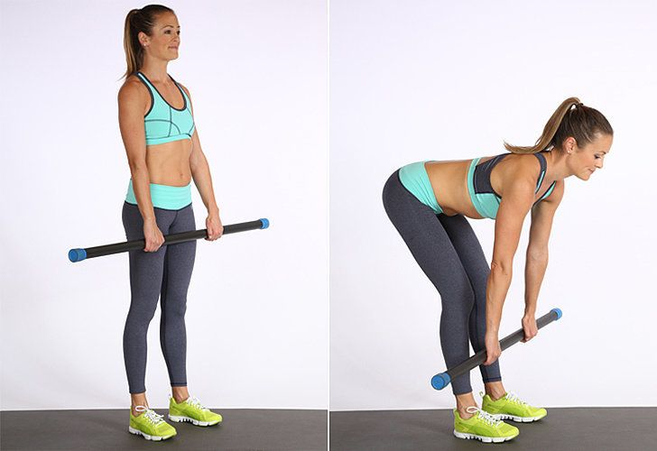 Holding the barbell (or two dumbbells at your side), keep your arms straight and knees slightly bent. Slowl...