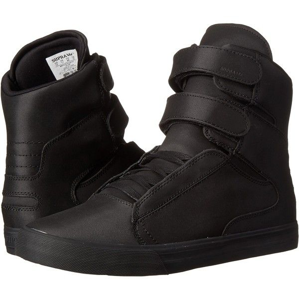 Supra Society II Men's Skate Shoes, Black ($78) ❤ liked on Polyvore featuring men's fashion, men's shoes, men's sneakers, black, mens high top skate shoes, mens high top shoes, mens black velcro sneakers, mens hi tops and mens velcro shoes
