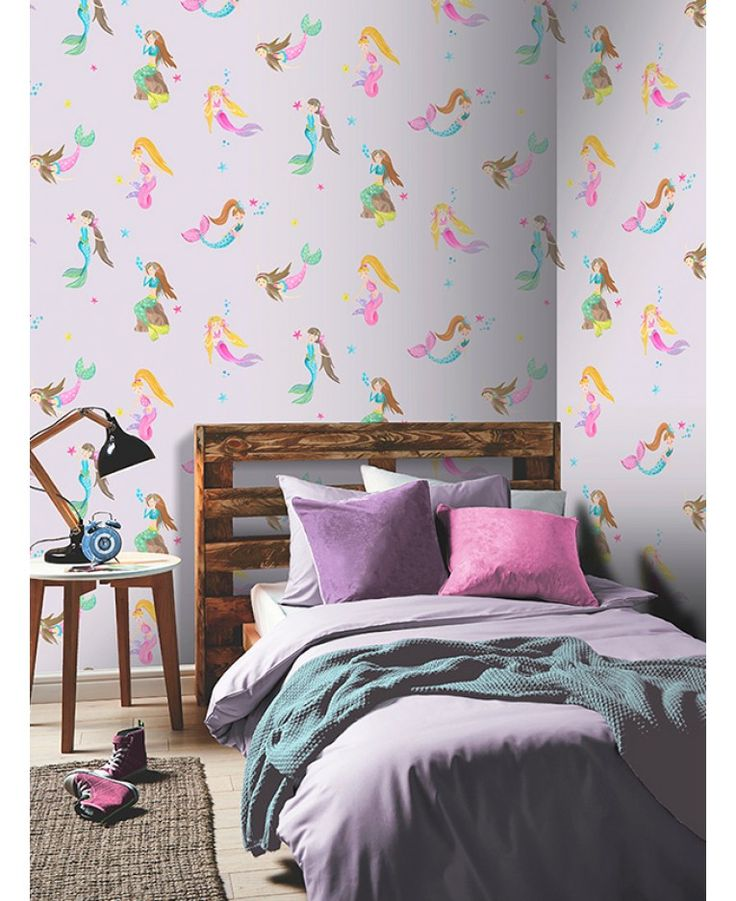 Mermaid World Wallpaper by Arthouse is ideal for creating a dreamy underwater theme in your little one's bedroom. Includes glitter and metallic highlights.