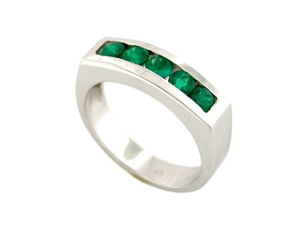 18K white gold men's ring with 5 round cut natural emeralds with deep green color in 0.85 Ct. t.w.